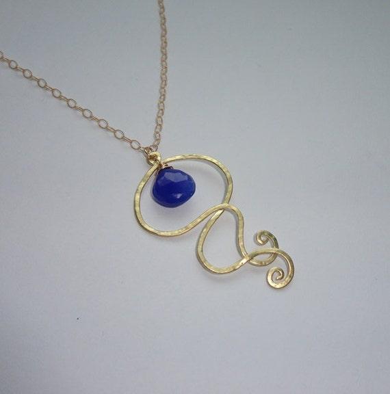 Blue Chalcedony Jellyfish Necklace