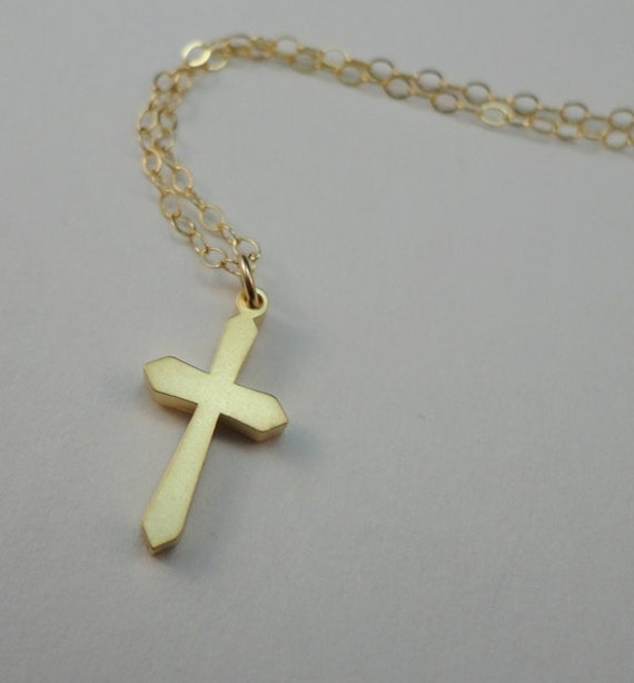Small Matte Gold Cross Necklace