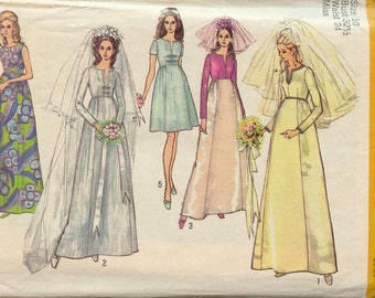 1970 Simplicity 9015 Pattern for Wedding Gown Empire Waist 10