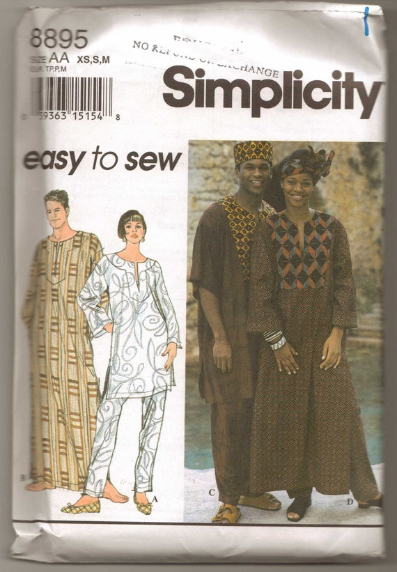 Simplicity Pattern 8895 for Unisex Caftan or Top, Pants, Hat, Headwrap XS-S-M