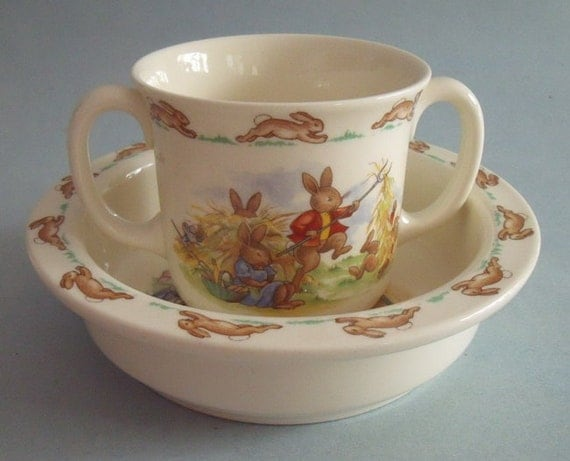 Royal Doulton Bunnykins Porridge Bowl And 2 Handled Mug Bone