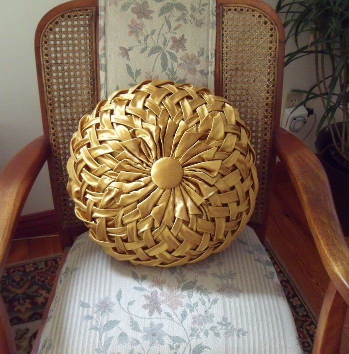 Vintage Gold Satin Smocked Pleated Pillow Cushion