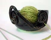 Dark Chocolate Brown Ceramic Yarn Bowl-knitting bowl