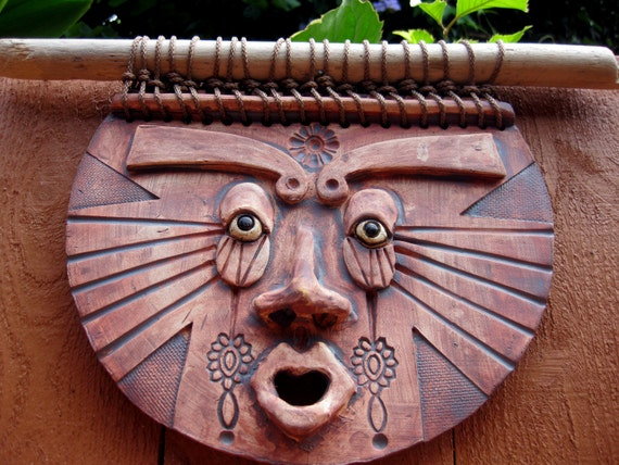 Mayan Sun Man Ceramic Mask Wall Art Garden Decor