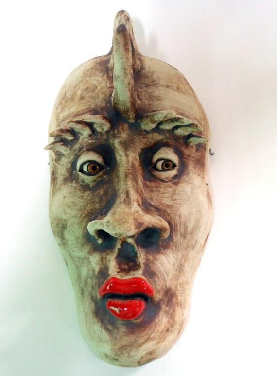 Reserved for Kellie-Horned She Devil Ceramic Mask