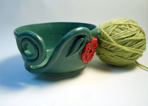 Red Flower Yarn Bowl