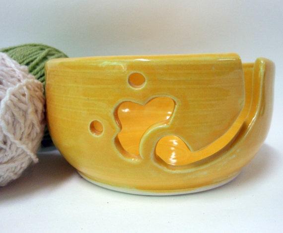 Big Decorative Butter Yellow Yarn Bowl