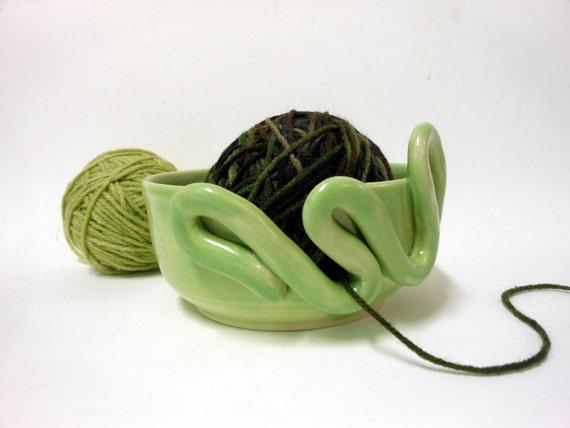 Decorative Key Lime Ceramic Yarn Bowl