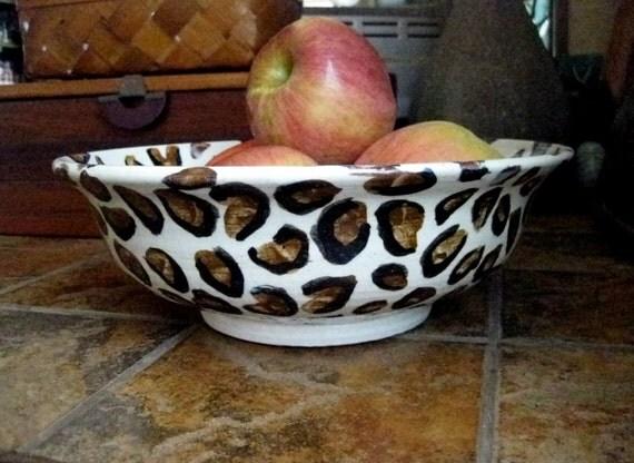 SALE- Cheetah Print Big Ceramic Bowl