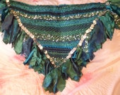 Vermont Green woven hip scarf, belly dancing, faerie cosplay (size large)