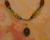 Yellow and Green Summer Dandelion Necklace