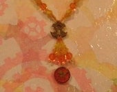 Tomato Flower Keyhole Necklace and Earrings Set