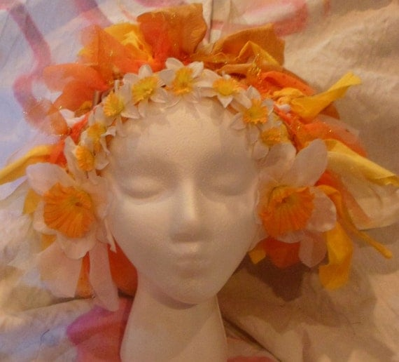 Woven Orange and White Daffodil Faerie Headdress for Belly Dance, Halloween, Cosplay