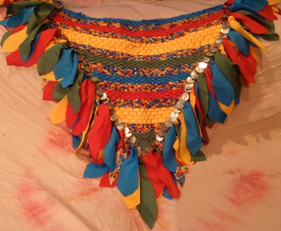 Parrot Feathers woven hip scarf, belly dancing, faerie cosplay (size medium)
