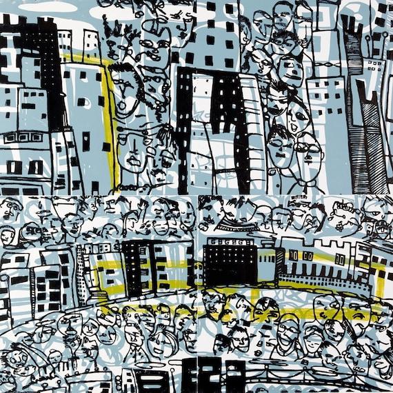 People and Buildings linoleum print