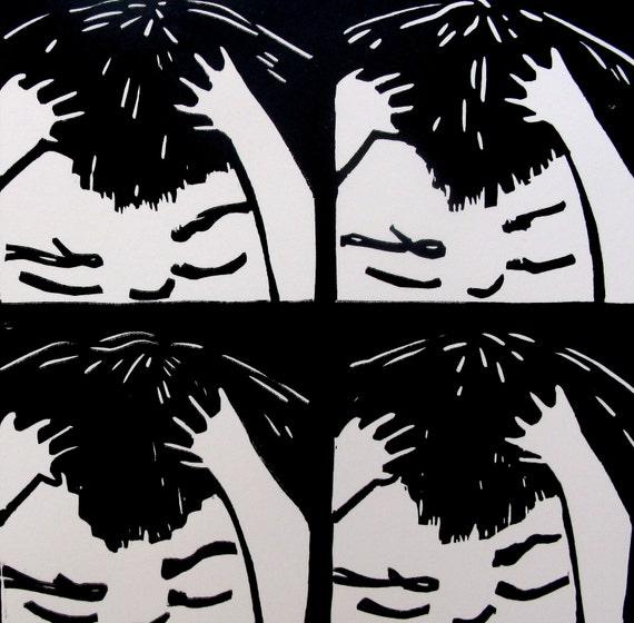 Printmaking Linocut Childhood Angst and Frustration