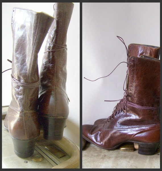 Vintage Victorian Boots brown leather size 9 narrow