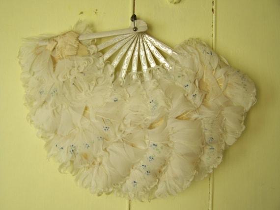 1920s Flapper Feather Fan /  Great Gatsby accessory  /  20s flapper era fan