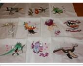 Deep Sea Creatures Machine Embroidered Quilt Blocks Set