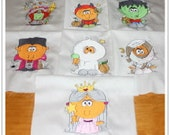 Halloween Bobblehead Machine Embroidered Quilt Blocks Squares Set