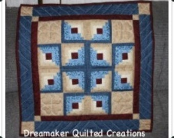 Log Cabin Star quilted wallhanging