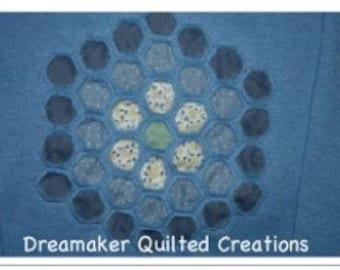 Grandmothers Garden Blue Quilted Sweatshirt