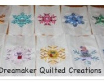 Silly Snowflakes Machine Embroidery 10 Quilt Blocks
