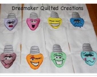 Holiday Lightbulbs Machine Embroidered Quilt Blocks Set A