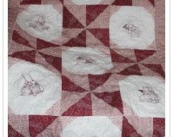 Machine Embroidered Sunbonnet Sue Friends Redwork Baby Quilt