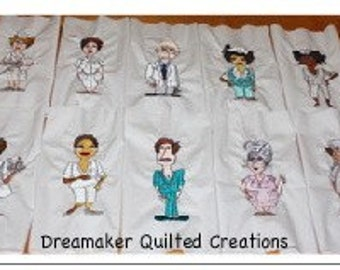 Loralie Happy Nurses Quilt Block Machine Embroidery Squares