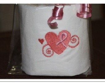 Machine Embroidered Breast Cancer Awareness Toilet Paper