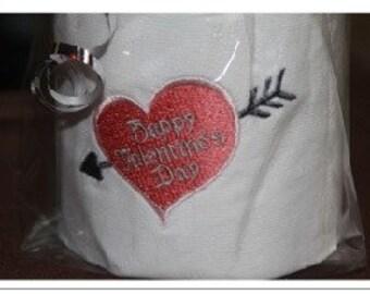 Machine Embroidered Happy Valentines Day Toilet Paper
