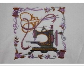 Machine Embroidered Antique Sewing Machine Sweatshirt