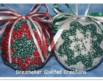 Handmade Holiday Red Green and White Ornament Set