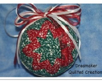 Handmade Red and Green Snowflakes Quilted Holiday Ornament