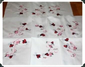 Pink Ribbon and Ladybugs Machine Embroidered Quilt Blocks Set