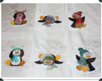 Perky Penguins Machine Embroidered Quilt Blocks Set