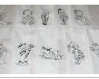 Blackwork Machine Embroidered Geisha Dolls Quilt Blocks Set