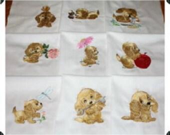 Perky Puppies Machine Embroidered Quilt Blocks Set
