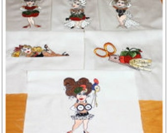 Loralie Designs Sewing Girls Machine Embroidered Quilt Blocks Set A