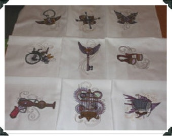Steampunk Gears Machine Embroidered Quilt Blocks Set