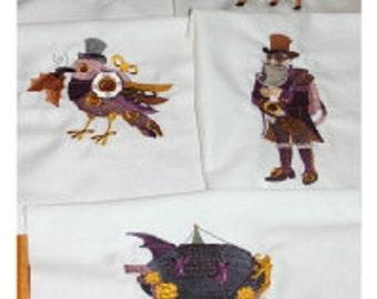 Steampunk Santa Machine Embroidery Quilt Block Set