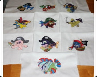 Pirates of the Sea Machine Embroidered Quilt Blocks Set