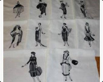 Vintage Ladies Machine Embroidered Quilt Blocks Set