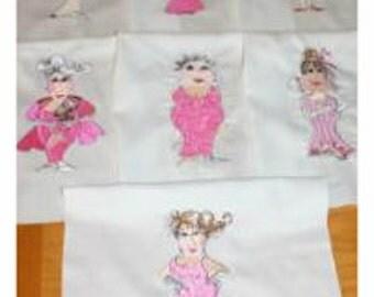 Senior Prom Ladies Machine Embroidered Quilt Blocks Set