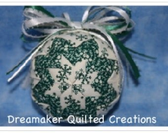 Handmade Green Snowflakes Quilted Ornament