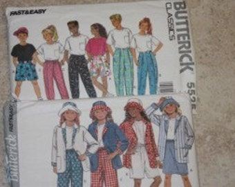 2 Butterick Patterns 5529 and 3277 young teen pants and tops
