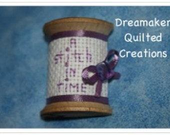 Spool Its A Stitch in Time Genuine Amethyst Pin Brooch