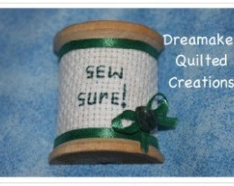 Spool Its Sew Sure Pin Brooch with Genuine Emerald stone