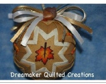 Handmade Maple Leaf Harvest Quilted Ornament